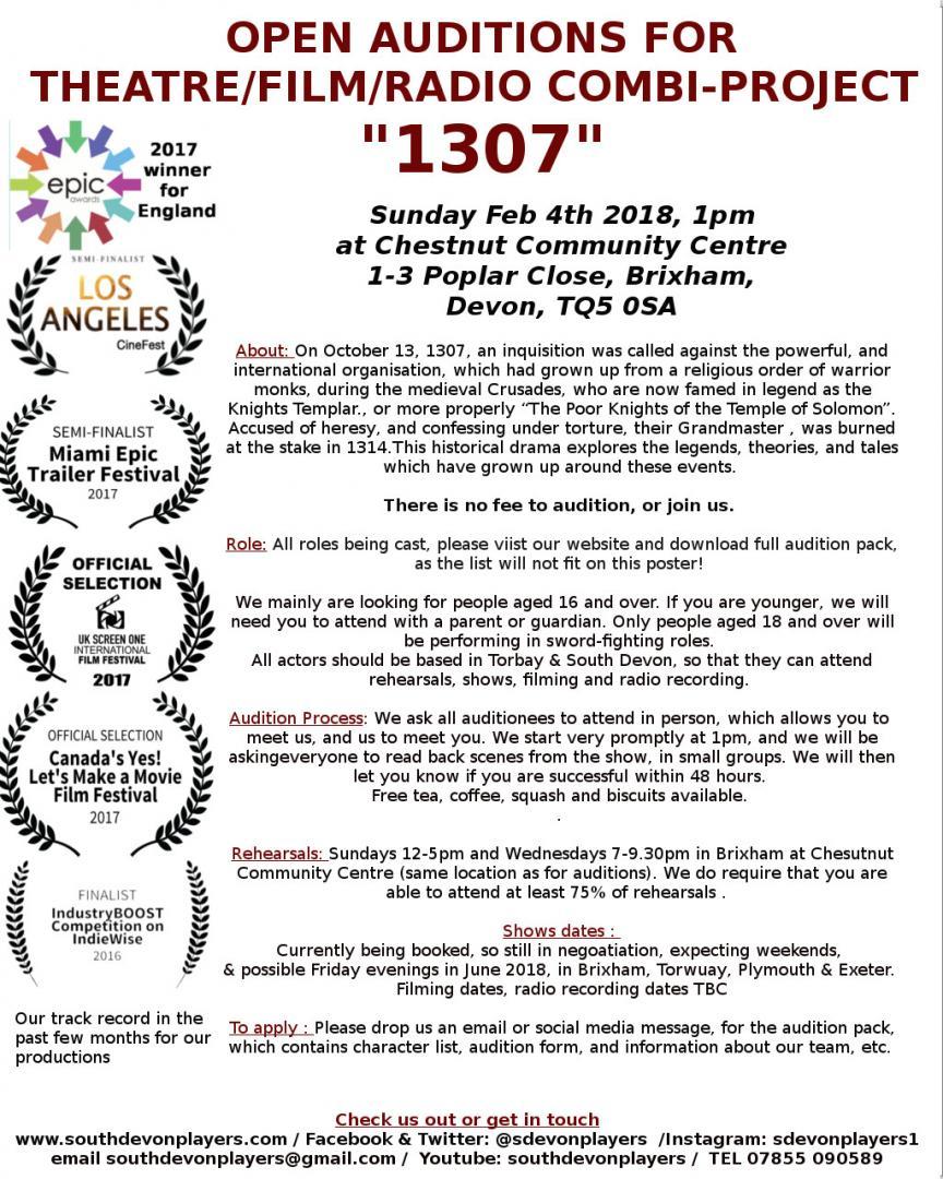 Open Auditions (Theatre, Radio & Film) Medieval drama 1307